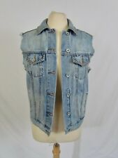 Band of Gypsies Denim Studded Vest Size XS Raw Frayed Armholes Silver Buttons