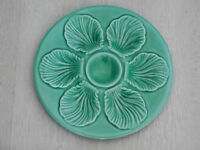 ANTIQUE FRENCH ART MAJOLICA OYSTER PLATE - TURQUOISE CELADON color