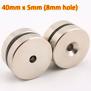 40mmx5mm Rare Earth DIY Strong Ring Neo Neodymium Disc Round Magnet (8mm hole)