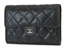 Auth CHANEL Black Perforated Lambskin Leather Wallet Zip Coin Purse #36699