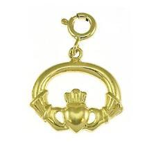 NEW 14k YELLOW GOLD CLADDAGH IRISH CHARM PENDANT JEWELRY