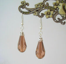 Brown Faceted Teardrop Silver Plated Drop Earrings in Gift Bag - Victoriana