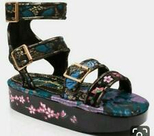 Irregular Choice Ebisu (a) Tacón De Plataforma Zapatos Sandalias Floral Negro