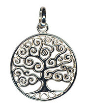 1 STERLING SILVER 925 CURLY TREE OF LIFE CHARM / PENDANT WITH JUMP RING, 19 MM