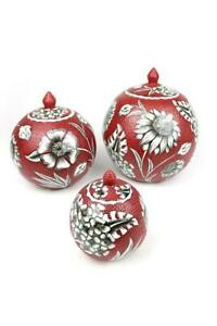 Handmade Artistic Ceramic Floral Vase Home Decorative Table Signed Vase Set of 3