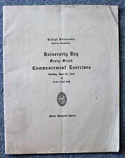 1934 LEHIGH UNIVERSITY Day COMMENCEMENT Program GRADUATION Bethlehen Penn PA