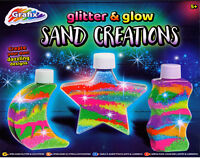 Sand Art Kit Glitter And Glow In The Dark Three Bottle Set With 8 Colours 280114