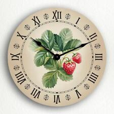 """Strawberries Watercolor Style Art Country Kitchen Motif 12"""" Silent Wall Clock"""