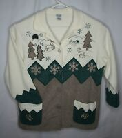 Teddi Womans button up fleece sweater jacket Winter deer trees snowflakes 1X