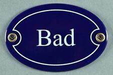 """Emaille Türschild """"Bad"""" blau oval 7x10 cm Schild Emailleschild Metallschild"""
