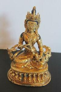Antique Chinese  Tibetian Gold Gilded Vishvavajra Statue Buddha