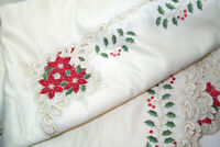 """Tagless Fabric Poinsettia Berry Trimmed Floral Cut Out Tablecloth 84"""" X 68"""" USED"""