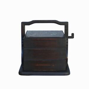 Traditional Vintage Chinese Square Multi Tray Wood Basket Box ws1059