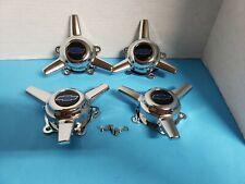 4 CAPS  SPINNERS 3 BAR  AMERICAN RACING SALT HOSPER  WHEELS 2 1/4 HOLE W/BLUE