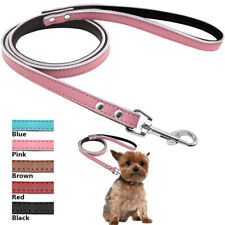"48"" Leather Dog Leash for Small Medium Dog Soft Padded Pet Walking Lead 5 Colors"