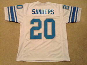 UNSIGNED CUSTOM Sewn Stitched Barry Sanders White Jersey - M, L, XL, 2XL, 3XL