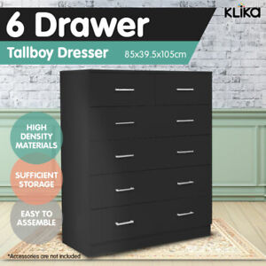 New Tallboy Dresser 6 Chest of Drawers Table Cabinet Bedroom Storage Black