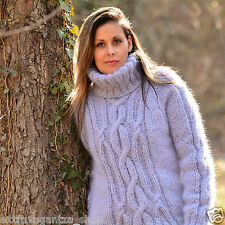 GREY Hand Knitted Mohair Sweater Turtleneck Fuzzy Cable Pullover EXTRAVAGANTZA