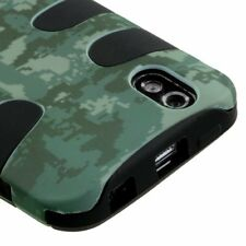 For LG Marquee Rubberized Hybrid FISHBONE Silicone Phone Case Green Camo