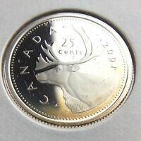 2001 Proof Canada 25 Cents Quarter Uncirculated Canadian Silver Coin N557