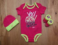 Nike Baby Girl 3 Piece Hat, Bodysuit & Booties Set ~ Pink, Volt & Black ~ 0-6M