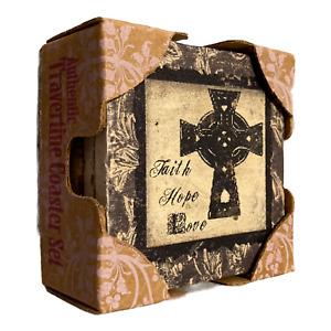 Thirstystone Stoneware Coaster Set, AMBIANCE Cross  of Faith Hope Love NEW SET