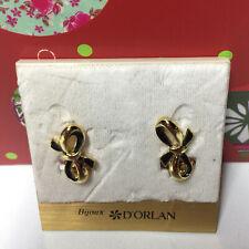 D'ORLAN VINTAGE GOLD BLACK RIBBON CLIP EARRINGS