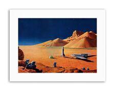 SCIENCE FICTION LANDSCAPE DESERT SPACE SHIP ROCKET PLANE Poster Canvas art