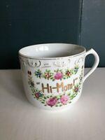 """VTG Porcelain Floral """"Hi Mom"""" Cup MOTHER Design Mug Hand Painted Made in Japan"""