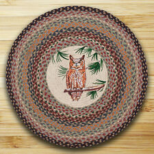 "GREAT HORNED OWL 100% Natural Braided Jute Rug, 27"" Round, Capitol Earth Rugs"