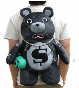 Sprayground 3AM Black Camo Teddy Bear Backpack Limited Edition