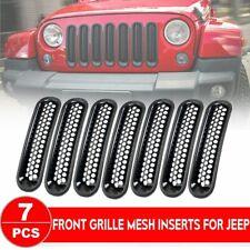 Matte Black Clip in Front Grille Mesh Inserts for 2007-2016 Jeep JK Wrangler