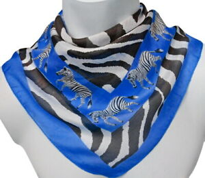 leichtes Herren Tuch Zebra Seidentuch Nickituch Halstuch blau schwarz weiß 283