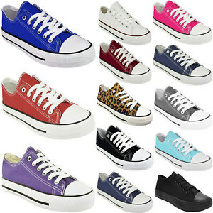 LADIES CANVAS SHOES WOMENS FLAT LACE UP PLIMSOLLS CASUAL PUMPS TRAINERS SNEAKERS