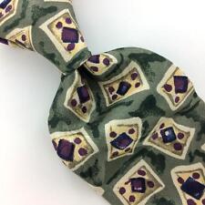 CEZANI CLASSICS  US TIE GEOMETRIC Green Beige Maroon Silk Necktie Ties I7-852