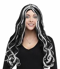 New Long Black and White Curly 30 Inch Halloween Wig Fun World 9231 Costumania