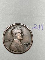 """1913-S LINCOLN WHEAT CENT, rare date, """"fine"""" condition, #211"""