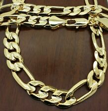 "14k gold plated premium quality 30 "" 9mm wide  figaro link chain necklace."