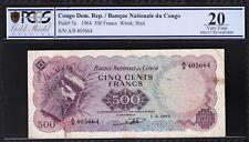 CONGO.DEM.REP, 500 FRANCS, 1964, PCGS 20 VERY FINE, P.7A