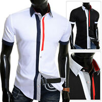 Mens Short Sleeve Shirt Classic Collar Summer Smart Casual Slim Wedding Cotton