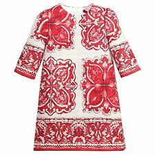 €825 DOLCE & GABBANA Red Majolica Brocade Dress Robe Size 7/8 - Sold Out