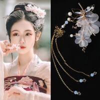 Chinese Flower Dragonfly Hair Clip Tassel Hairpin Headwear Bridal Headwear Retro