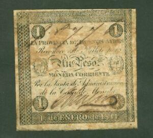 ARGENTINE (PICK SPECIALISE S.403a) PROVINCIA DE BUENOS AYRES 1 PESO de 1844 TB+