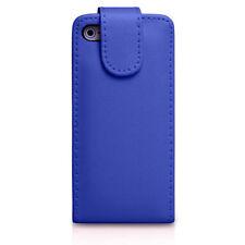 Blue Llano Flip Cuero Funda con las ranuras de tarjeta para Apple Iphone 4/4s