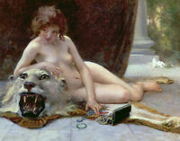 Oil painting young naked nice girl with her Jewelry Box tiger skin Hand painted
