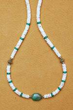 TURQUOISE OVAL NECKLACE GENUINE GEMSTONE HEISHI SILVER BEAD FASHION IN 4 mm.
