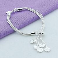 Lovely Women Girls Sterling Silver Plated Love Heart Pendant Bracelet Jewelry