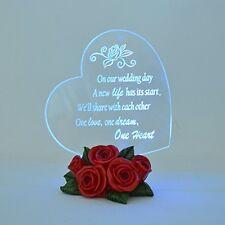 Light Up Acrylic Heart LED Rose Flower Bottom Etched Poem Wedding Cake Topper