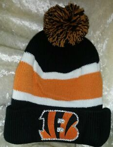 Cincinnati Bengals Women's Rhinestone Knit Bling NFL Cap Hat ~NEW~