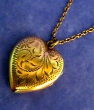 Antique Victorian GF Heart Shaped Locket Pendant with Original GF Chain